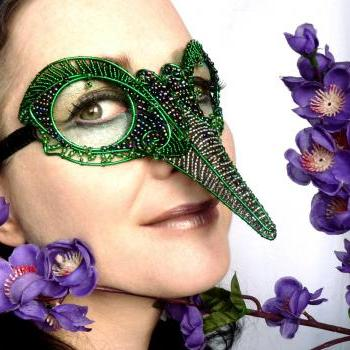 Green humming bird mask, ladies, handmade